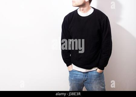 The Guy In The Blank Black Hoodie, Sweatshirt, Stand, Smiling On A