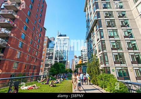 High Line New York City Chelsea Manhattan - Stock Photo