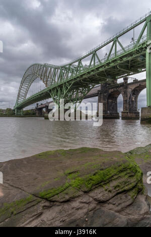 Runcorn Rail and road bridges - Stock Photo