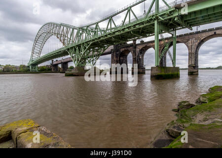 Runcorn Rail and road bridges - Stock Photo