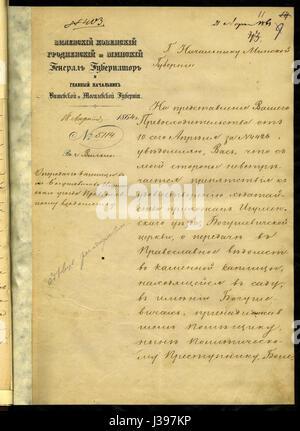 Decree of the Vilno General Governor Mikhail Nikolayevich Muravyov to Minsk Governor   18 April 1864 AD   a - Stock Photo