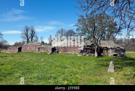 The Gurre Castle Ruin, a Royal castle from the 12th century in North Zealand near Elsinore, Helsingør, in Denmark - Stock Photo