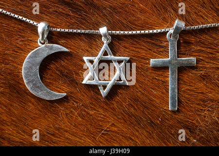 Symbols of islam, judaism and christianity. - Stock Photo