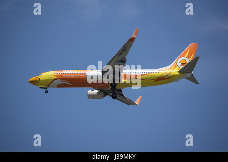 CHIANG MAI, THAILAND -APRIL 29 2017:  HS-DBT Boeing 737-800 of NokAir . Landing to Chiangmai airport from Bangkok. - Stock Photo