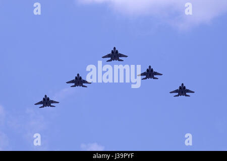 Ra'am jet fighters at an airshow of the Israeli air force. Ra'am are a special version of the F-15E Strike Eagle - Stock Photo