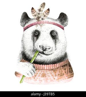 Watercolor panda illustration. Bohemian cute animal. Boho style. - Stock Photo