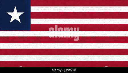 Illustration of the national flag of Liberia looking like it is painted on a wall. - Stock Photo
