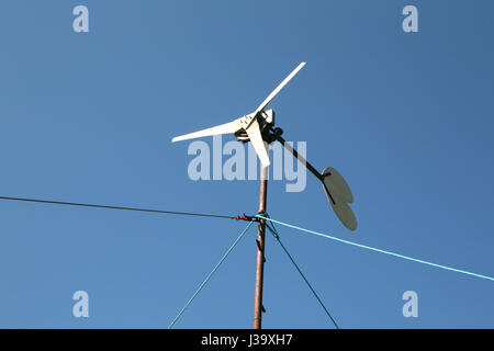 Small wind turbine clean energy production selfbuilt - Stock Photo