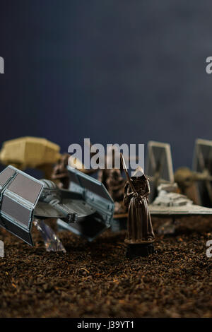 ADELAIDE, SOUTH AUSTRALIA - APRIL 28, 2017: Star Wars battlefield scene with iconic characters and ships. - Stock Photo