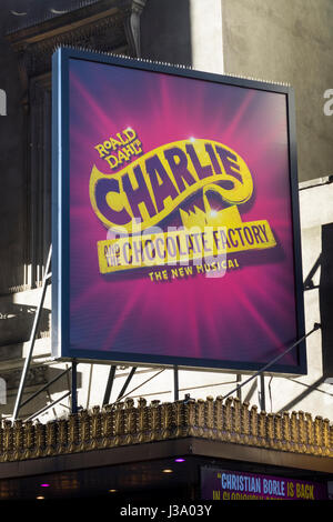 Roald Dahl's Charlie and the Chocolate Factory, now a musical on Broadway in New York - Stock Photo