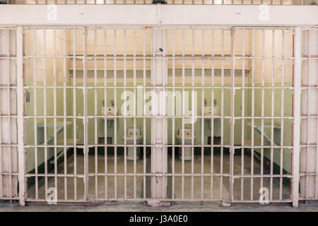 San Francisco, California, United States - April 30, 2017: Adjacent cells of Alcatraz prison. - Stock Photo