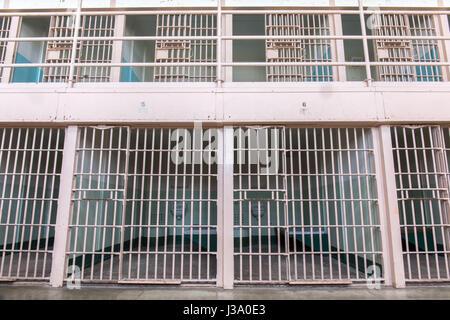San Francisco, California, United States - April 30, 2017: Multi-level cells of Alcatraz Prison. - Stock Photo