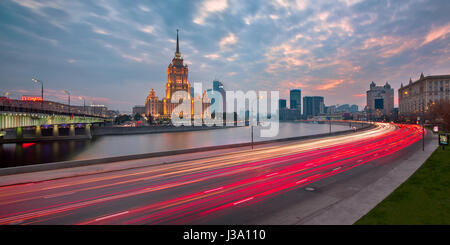 MOSCOW, RUSSIA - 18 OCTOBER 2015: Hotel Ukraine (Radisson Royal Hotel) in Moscow, Russia. One of the Seven Sisters in Moscow it was built in 1957 and