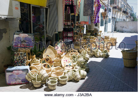 Wicker baskets on sale in a traditional street market in the Turkish quarter, Nicosia, Cyprus - Stock Photo