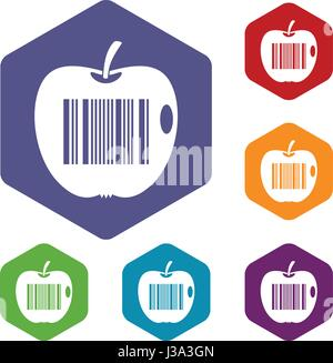 Code to represent product identification icons set - Stock Photo