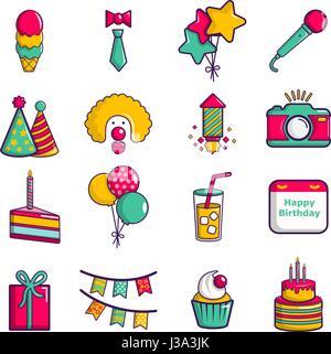 Happy birthday icons set, cartoon style - Stock Photo