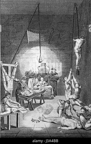 Representations of the methods of torture used by the Inquisition. Engraving from c 1780 edition of The New Book - Stock Photo
