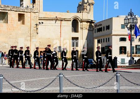 Military parade after the arrival of political dignitaries for the EPP European Peoples party congress outside the - Stock Photo