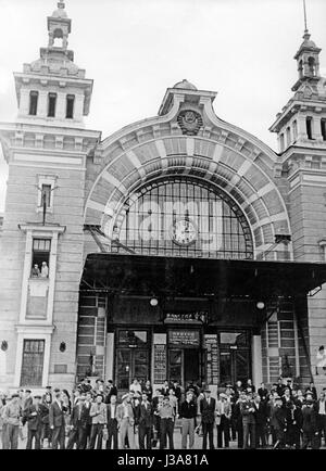 The Belorussky railway station in Moscow, 1955 - Stock Photo