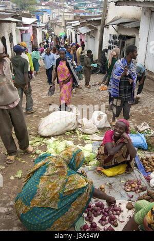 Street market scene in Harar, Ethiopia - Stock Photo