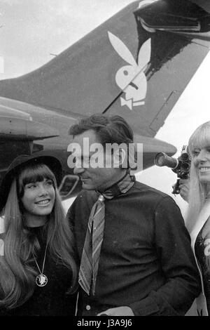 Arrival of Hugh Hefner at the Munich-Riem airport, 1970 - Stock Photo