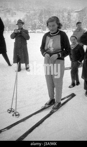 Cross-country skier before the start at the competition in Grindelwald, 1954 - Stock Photo