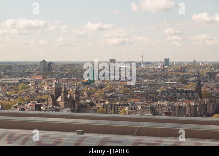 The city of Amsterdam, Netherlands, as seen from the top of the Amsterdam tower on the northern side of the main - Stock Photo