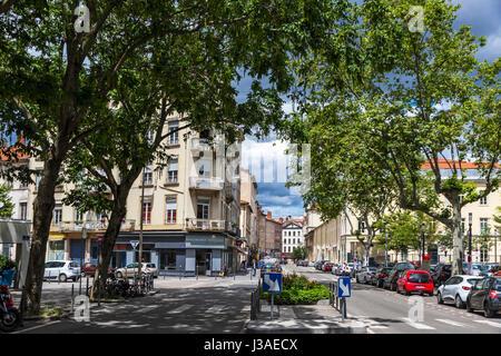 LYON, FRANCE - JUNE 15, 2016: Place Saint-Louis, the square in the 7th arrondissement of Lyon city, France - Stock Photo