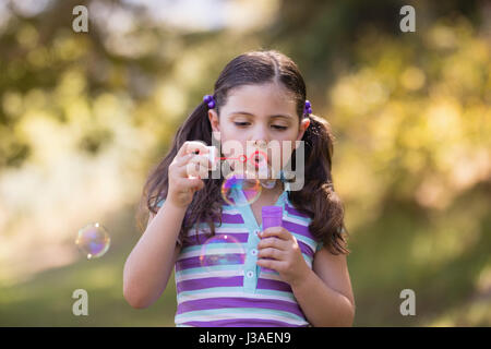 Little girl blowing bubbles with wand on sunny day in forest - Stock Photo