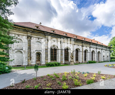 The beautiful Renaissance building in the Royal Gardens at Prague Castle, Ball Games Hall. - Stock Photo