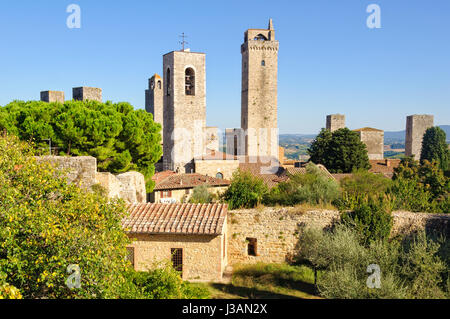 Some of the famous tower houses of San Gimignano as seen from the Fortress La Rocca - Stock Photo
