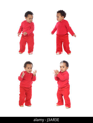 Four equal baby girls in red isolated on a white background - Stock Photo