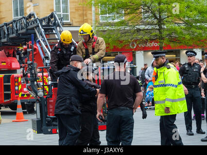 Bristol, UK. 4th May, 2017. A protest was made against Barclays Bank financial involvement with fracking. Environmental - Stock Photo