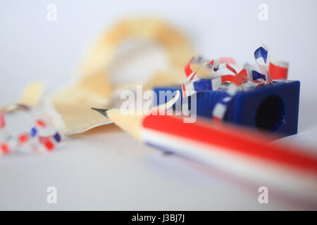 Brexit - Union Jack pencil being sharpened - Stock Photo