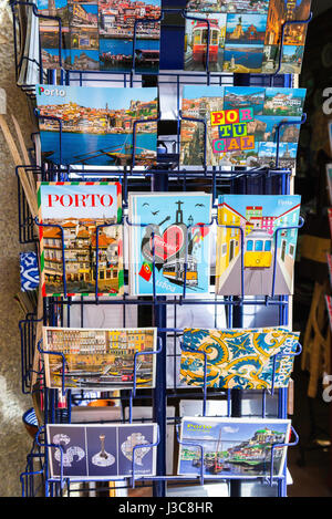 Porto Portugal shop, a display of postcards outside a shop in the Ribeira area of Porto, Portugal, Europe - Stock Photo