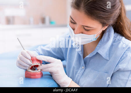 orthodontist woman working on tool teeth model with metal wired dental braces. - Stock Photo