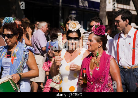 Marchers in the San-Miguel de Romeira Parade, Torremolinos, Costa del Sol, Spain, Europe. - Stock Photo