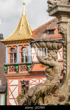 Detail of the Fountain at the Market place of Schwabach in Bavaria, Germany | Detailaufnahme des Springbrunnens - Stock Photo
