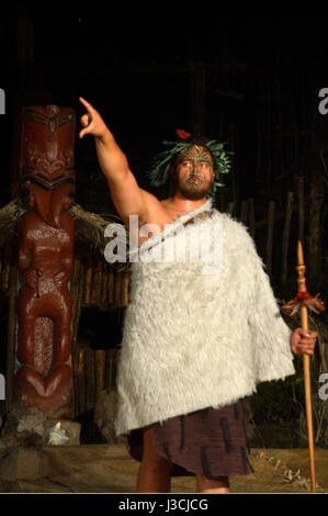 ROTORUA, NZL - APR 25 2017:Maori tribal chief.Maori are the indigenous people of New Zealand that migrated to New - Stock Photo