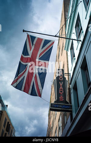 The Quo Vadis restaurant, serving modern British cuisine, on Dean Street in London's fashionable Soho district - Stock Photo