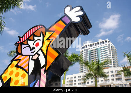 Miami Florida Shops at Midtown Miami Brush with Romero Britto famous artist children's painting party sculpture - Stock Photo