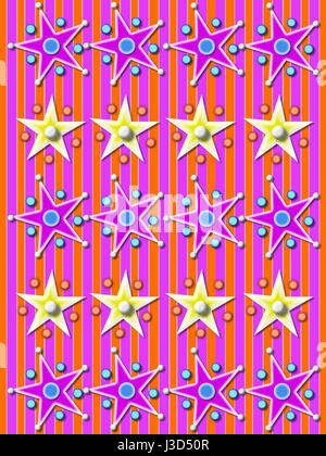 Pink and orange striped background is covered in rows of stars surrounded by balls and beads. - Stock Photo