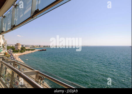 View from the Daios Hotel on the old promenade of Thessaloniki on the Thermaic Gulf - Stock Photo