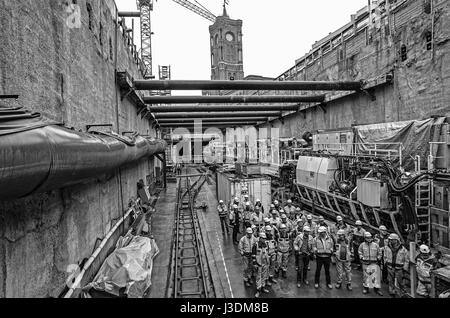 Tunnel construction for the U 5 - Stock Photo