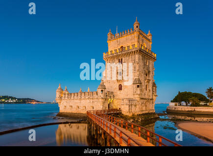 16th Century Belem Tower at the Tagus River in Lisbon, Portugal at sunrise - Stock Photo