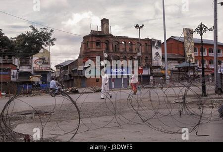 Srinagar, Jammu and Kashmir, India, 2010, Curfew in Srinagar - Stock Photo