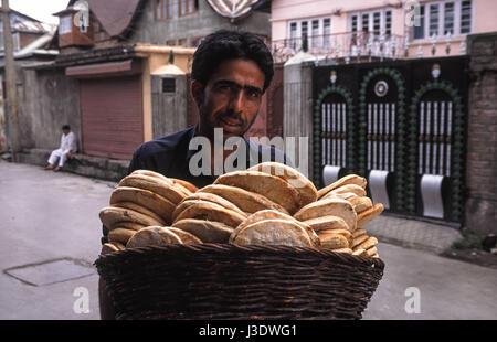 Srinagar, Jammu and Kashmir, India, 2010, Bread seller - Stock Photo