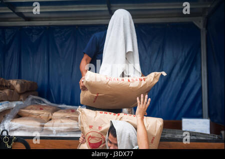 Singapore, Republic of Singapore, Asia, Workers unload flour sacks - Stock Photo