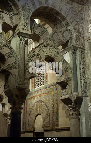 Detail of the mihrab in the Great Mosque (Mezquita de Cordoba) in Cordoba, Andalusia, Spain. - Stock Photo