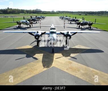 USAF B-25 Mitchell bomber aircraft sit on the runway at the Wright-Patterson Air Force Base National Museum of the - Stock Photo